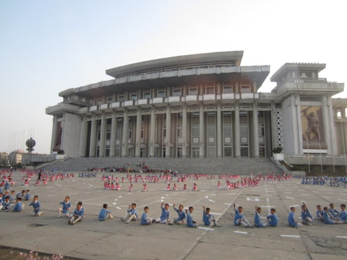 Kids practicing for the Mass Games in front of Hamhumg Grand Theatre