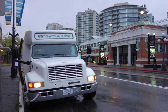 "The 6am West Coast Trail ""Express"" bus departing from rainy Victoria - May 2013"