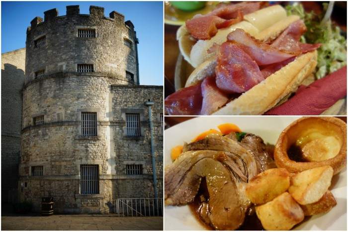 Oxford Castle, bacon breakfast sandwich, sunday roast