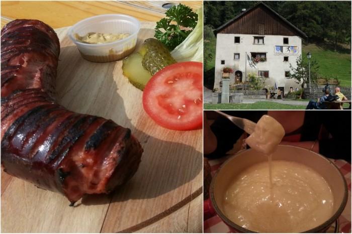 Swiss sausage, Heidiland, fondue at Raclette Stube in Zurich