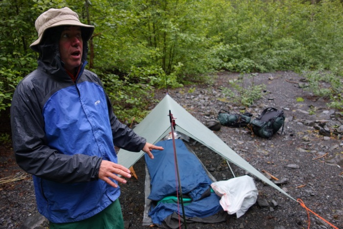 Always animated. Mike Clelland shows how to sleep well under a tarp