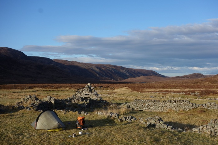 Camping alongside an old ruin