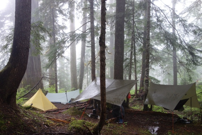 A damp campsite