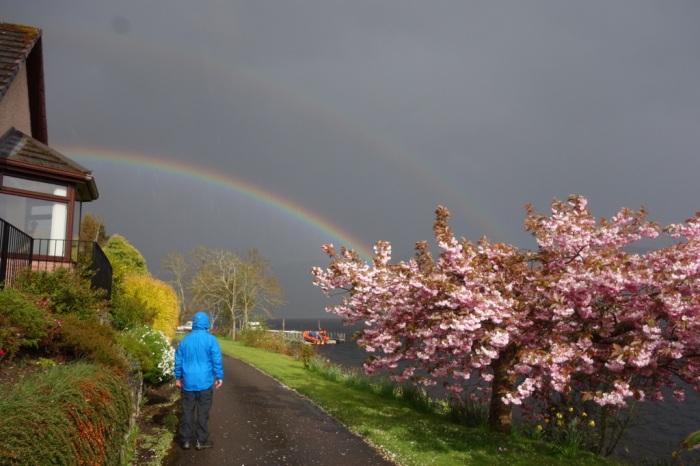 Sunshower and rainbow