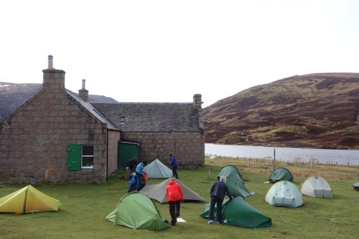 Setting up camp at Lochcallater Lodge