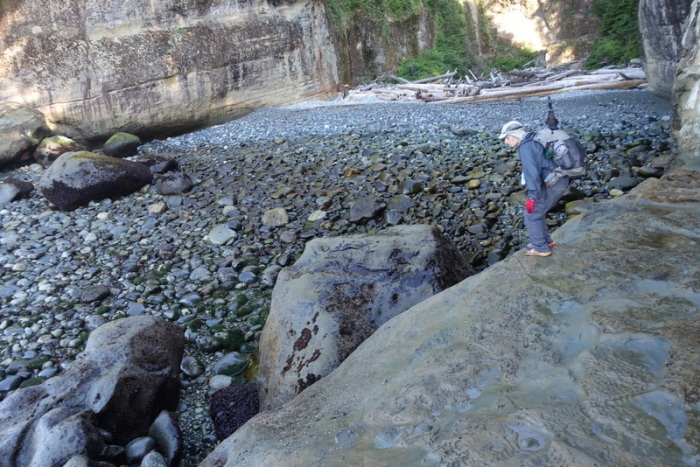 Tricky down-climb to reach the creekbed