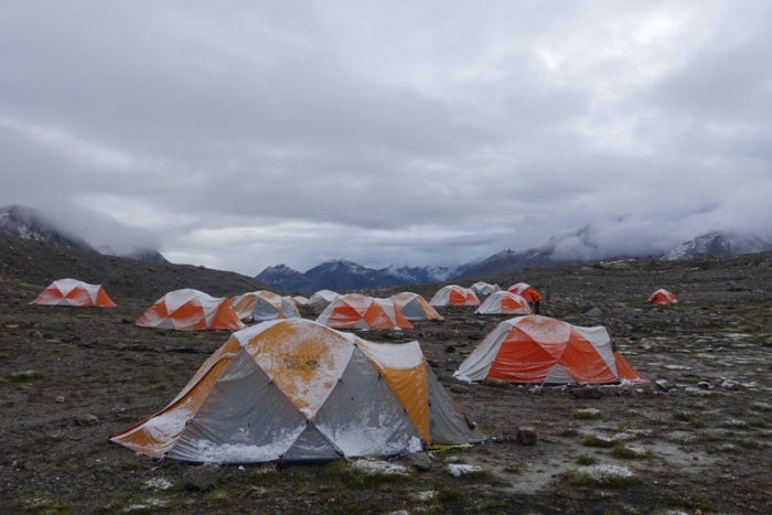 Fresh snow and hail sticks to our tents