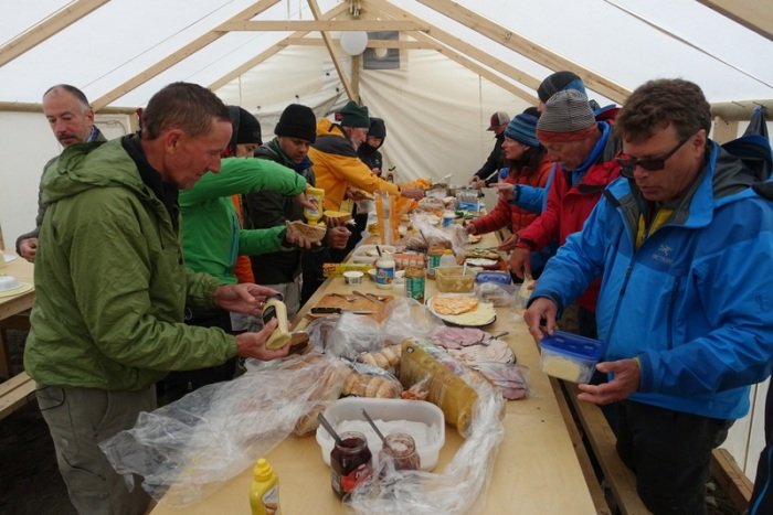 Making lunches in the dinning tent