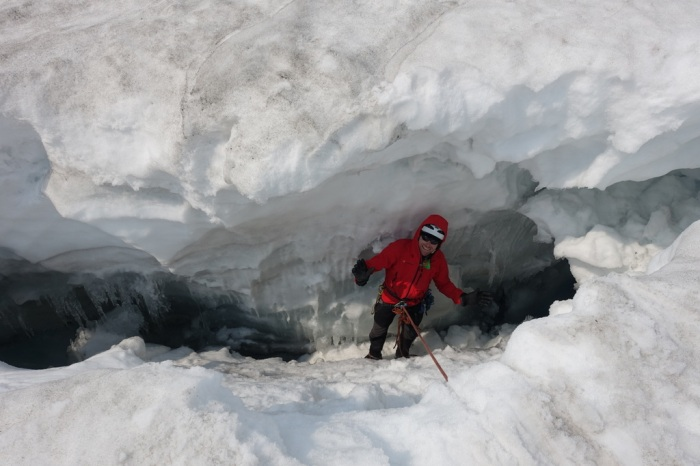 Richard enjoying some alone-time in a crevasse