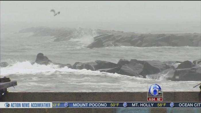 Angry waves batter the shore