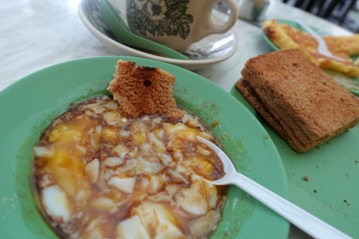 Traditional Singaporean breakfast at Ya Kun Kaya Toast