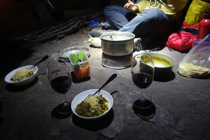 Even in a rustic hut we eat well