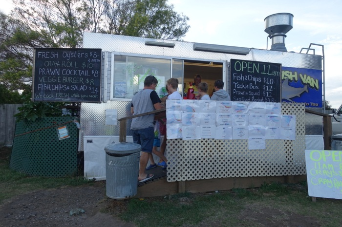 Dinner at the Triabunna Fish Truck