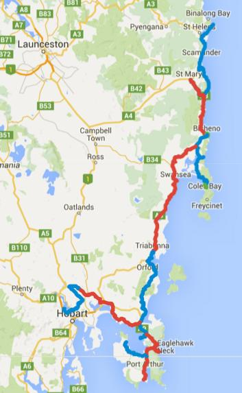 Map of Day 1-11 cycling in Tasmania