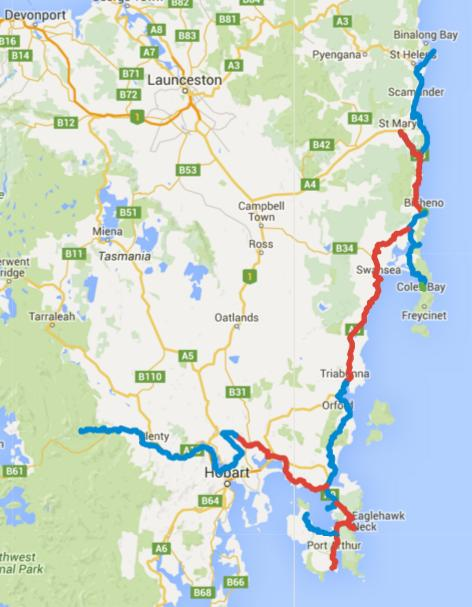 Map of Day 1-14 cycling in Tasmania. Alternating days are coloured blue and red