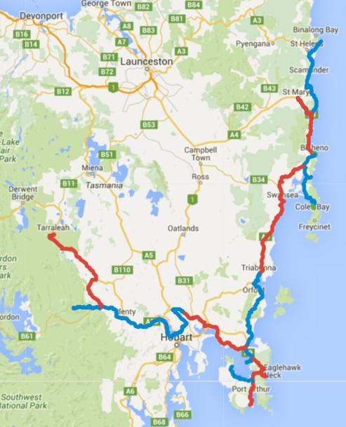 Map of Day 1-15 cycling in Tasmania. Alternating days are coloured blue and red