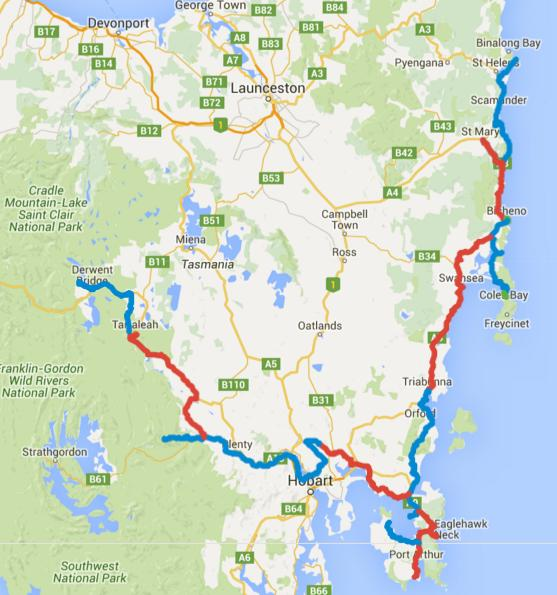 Map of Day 1-16 cycling in Tasmania. Alternating days are coloured blue and red