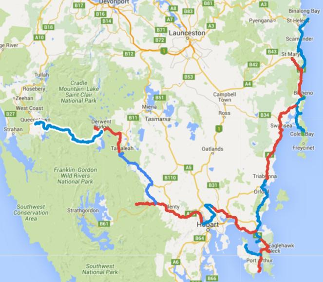 Map of Day 1-17 cycling in Tasmania. Alternating days are in blue and red