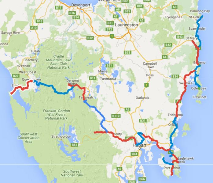 Map of Day 1-20 cycling in Tasmania. Alternating days are coloured blue and red