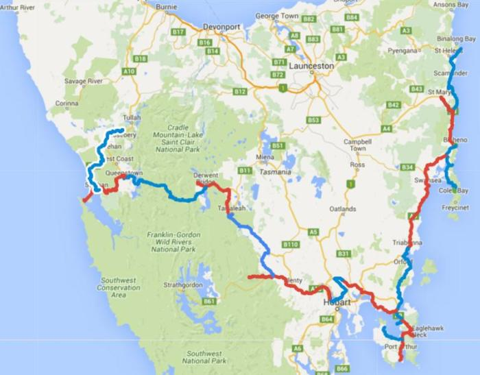 Map of Day 1-21 cycling in Tasmania. Alternating days are coloured blue and red