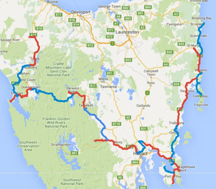 Map of Day 1-22 cycling in Tasmania. Alternating days are coloured blue and red