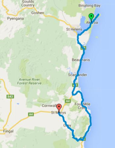 Map of Day 1 cycling in Tasmania