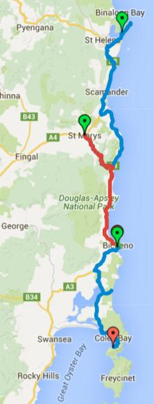 Map of Day 1-3 cycling in Tasmania