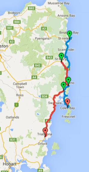 Map of Day 1-4 cycling in Tasmania