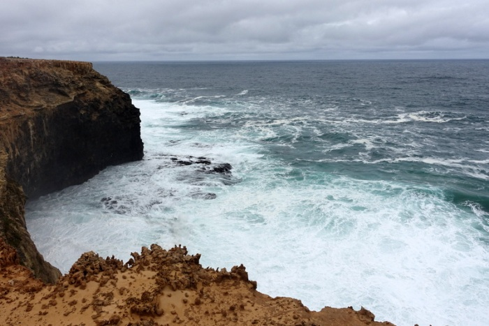 Basalt cliffs overlook dangerous waters