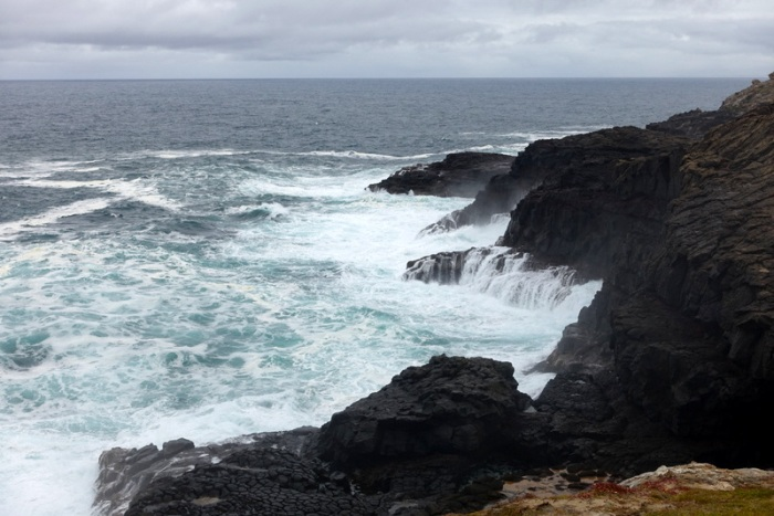 The cold Southern Ocean relentlessly batters the coastline