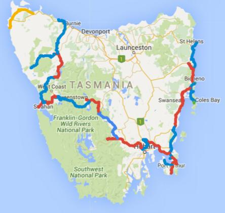 Map of Day 1-26 cycling in Tasmania. Alternating days are coloured blue and red, today is yellow.