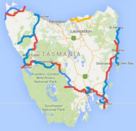 Map of Day 1-30 cycling in Tasmania. Alternating days are coloured blue and red. Today is yellow.