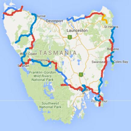 Map of Day 1-32 cycling in Tasmania. Alternating days are coloured blue and red. Today is yellow.