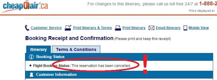 Not what you want to see on your flight confirmation