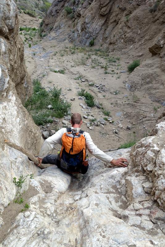 Downclimbing a dryfall