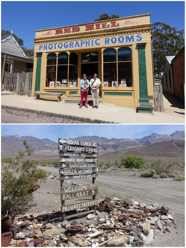 Australia - tourists pose at recreated storefronts California - a signpost in the desert is all that marks this ghost town