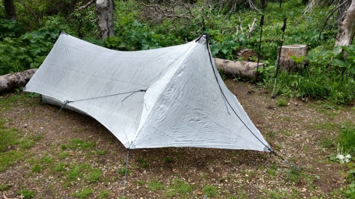 Experimenting with a new tent