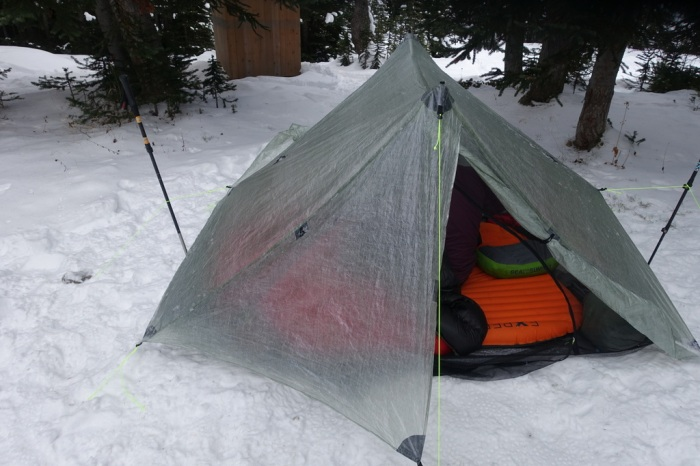 Duplex tent set up in the snow