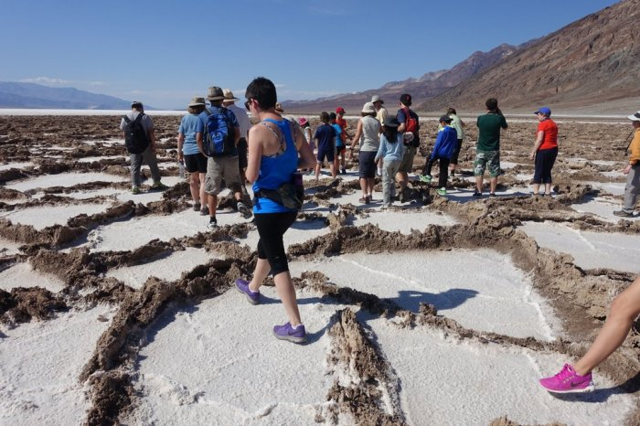 April - salt cracks form octagon shapes in Death Valley's Badwater Basin, the lowest point of North America