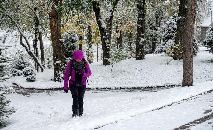 Caught in a snowstorm in Almaty,Kazakhstan