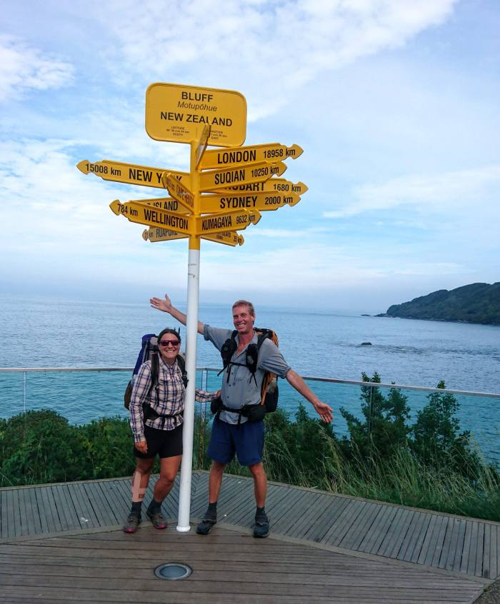 March - After two and a half months of walking across New Zealand, we reach the sea and the end of the trail!